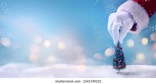 A santa claus hand hold a christmas tree.Christmas winter scene - Shutterstock ID 1541749232