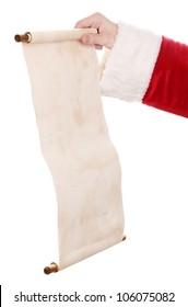 Santa Claus hand holding list on white