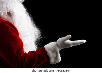 Santa Claus hand presenting isolated on white background