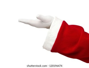 Santa Claus hand presenting your text or product isolated on white background