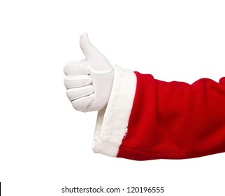 Santa Claus hand showing thumbs up isolated on white background