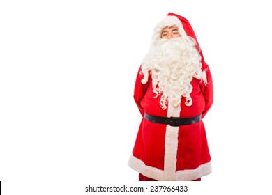 santa claus with hands on his back, copy space