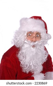 Santa Claus has a surprised look on his Jolly face