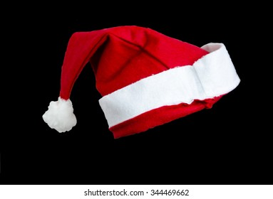 Santa  claus hat isolated on black