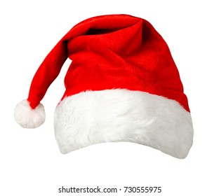 santa claus  hat isolated on white  .   hat with pompom
