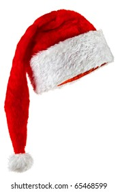 Santa Claus hat with a long crown. Isolated on white.