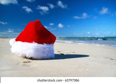 Santa claus hat on caribbean sea, Dominican Republic