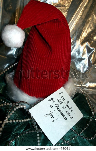 Santa Claus hat with wish list