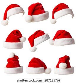 Santa Claus hats isolated on white background