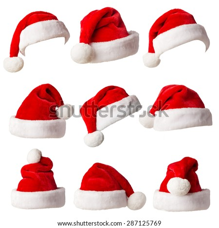 Santa Claus Hats Isolated On White Stock Photo (Edit Now) 287125769 ... ed1ddaac52f0