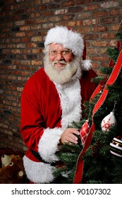 Santa Claus as he is sneaking around the Christmas Tree.