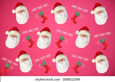 Santa Claus Head with Christmas Stocking on Red. Repeating Santa Claus Head Pattern. Isolated On Red.