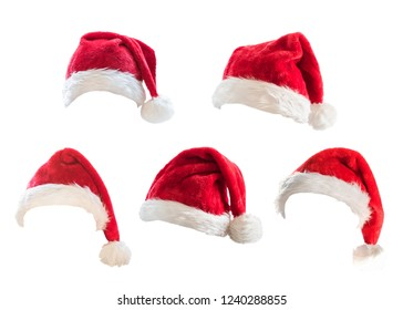 Santa Claus helper red hat set isolated on white background with clipping path for Christmas and New Year holiday costume seasonal festive celebration design decoration