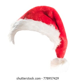 Santa Claus helper red hat costume isolated on white background with clipping path for Christmas and New Year holiday seasonal festive celebration design decoration.