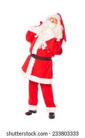 santa claus holding his beard and sack of gifts, isolated