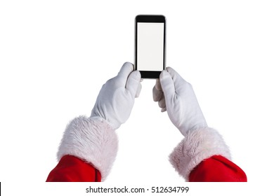 Santa claus holding mobile phone against white background