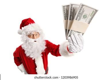Santa Claus holding money isolated on white background
