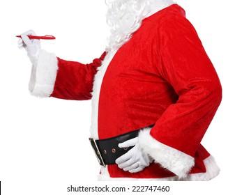 Santa Claus holding a pen