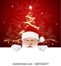 Santa Claus holding poster