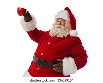 Santa Claus holding red cup Closeup Portrait isolated on White Background