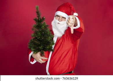 Santa Claus holds a Christmas tree and shows thumbs down