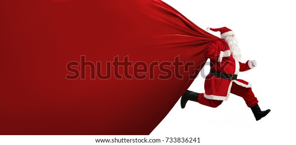 Santa Claus with a huge bag, on the run to, delivery christmas gifts isolated on white background