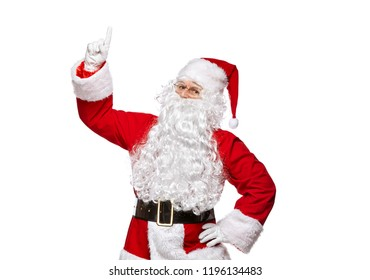 Santa Claus isolated on white background. Santa Claus is showing thumbs up.