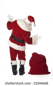 Santa Claus isolated on white with back to the camera