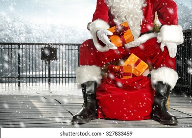 santa claus legs in black shoes