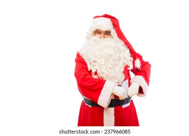 santa claus with letters for santa on his belt
