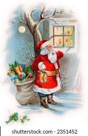 Santa Claus looking into a cottage window on Christmas eve - a circa 1910 vintage illustration.