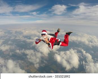 Santa Claus make a skydiving
