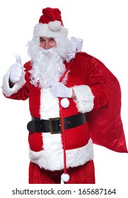 santa claus is making the ok thumbs up hand sign on white background