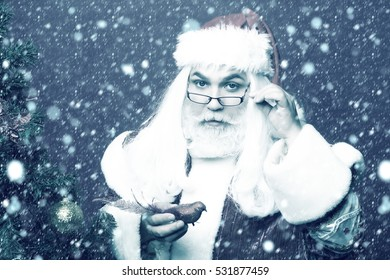 Santa claus man in eyeglasses with white beard in new year red suit decorates Christmas tree with bird bauble