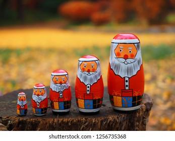 Santa Claus Matryoshka,Russian folk toys in forest
