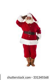 Santa Claus military respect and ready to serve Full Length Portrait. Isolated on White Background
