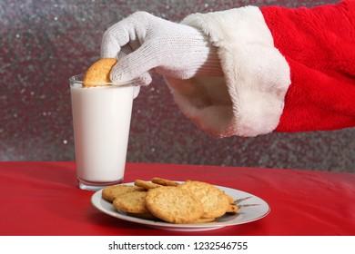 Santa Claus. Santa Claus with Milk and Cookies. Santa Loves Milk and Cookies as a gift to him on Christmas Eve.