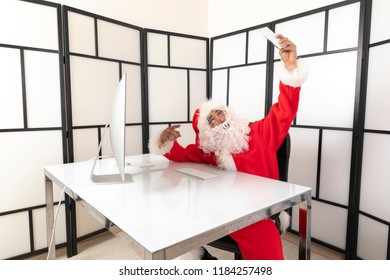 santa claus in the office christmas