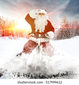 Santa claus on road and golden hour of sunset time