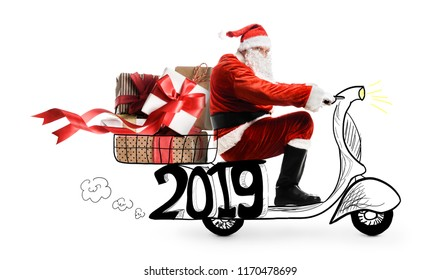 Santa Claus on scooter delivering Christmas or New Year 2019 gifts at snowy white background