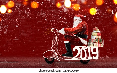 Santa Claus on scooter delivering Christmas or New Year 2019 gifts at snowy red background