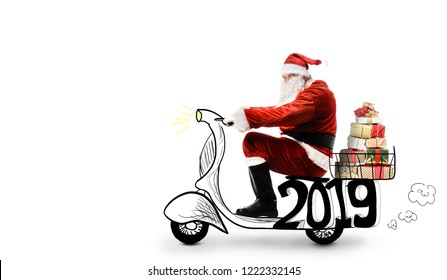 Santa Claus on scooter delivering Christmas or New Year 2019 gifts at white background