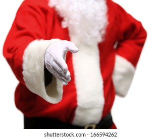 Santa Claus with an open hand ready to seal a deal