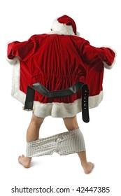 Santa Claus opening his coat and flashing.