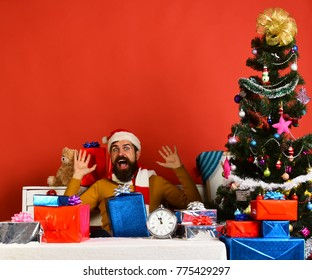 Santa Claus opens presents near decorated tree on red background. Santa holds gift box. Winter holiday and surprise concept. Man with beard and excited face celebrates Boxing Day.