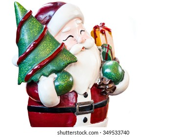 Santa claus, Ornament decorate Merry Christmas and happy new year isolated on white background