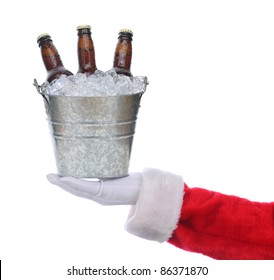 Santa Claus outstretched arm holding a bucket of beer in his hand. Square format over a white background.