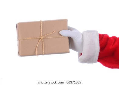 Santa Claus outstretched arm with a parcel in his hand. Horizontal format over a white background.