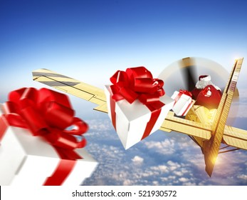 santa claus in plane and boxes of gifts