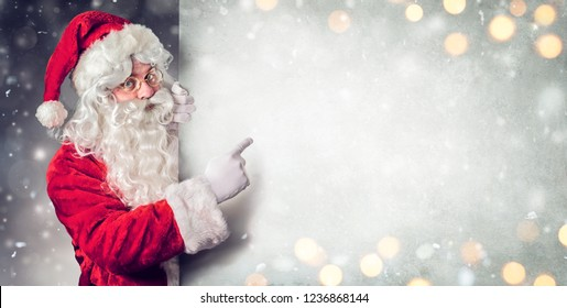 Santa Claus Pointing Blank Billboard